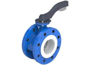 Double Flanged Butterfly Valve PTFE Lined