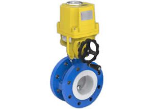 Electric Flanged Butterfly Valve PTFE Lined